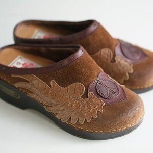 Vintage 90s Y2K Lucky Brand Brown Suede Clogs